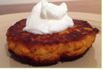 salmon patty with sour cream